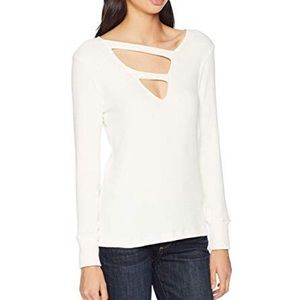 LNA kindred ribbed knit sweater ivory